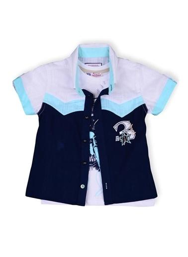 Kts Baby Kts Baby 4216 3 İşlemeli Gömlek Baskılı Body Erkek Çocuk Giyim Pembe